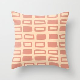 Mid Century Modern Abstract Squares Pattern 542 Peach and Beige Throw Pillow