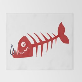 Pirate Bad Fish red- pezcado Throw Blanket