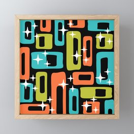 Retro Mid Century Modern Abstract Pattern 222 Orange Chartreuse Turquoise Framed Mini Art Print
