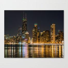 Chicago North Shore Skyline Night Canvas Print