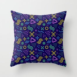 Retro 80s Shapes Pattern Throw Pillow