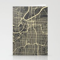 kansas city Stationery Cards featuring Kansas City map by Map Map Maps