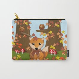 Fall fox, owls and leaves, vector illustration Carry-All Pouch