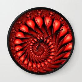 Red Hearts, Abstract Fractal Art Fantasy Wall Clock