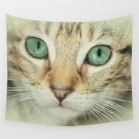 alisa burke Wall Tapestries featuring FELINE BEAUTY by Catspaws