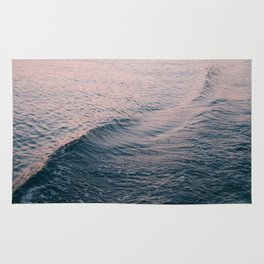 Pink Sunset Waves Rug