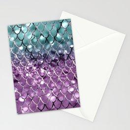 Mermaid Scales on Aqua Purple MERMAID Girls Glitter #2 #shiny #decor #art #society6 Stationery Cards
