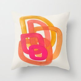 Funky Retro 70' Style Pattern Orange Pink Greindent Striped Circles Mid Century Colorful Pop Art Throw Pillow