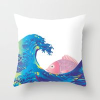 hokusai Throw Pillows featuring Hokusai Rainbow & Jpanese Snapper  by FACTORIE
