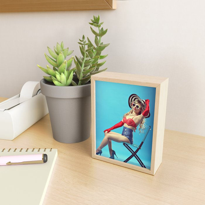 Pinup Model (Seated) Framed Mini Art Print