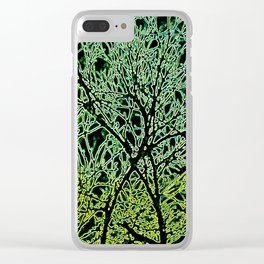 Tangled Tree Branches in Leaf and Lime Green Clear iPhone Case