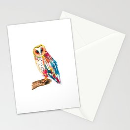 Watercolor Rainbow Owl Stationery Cards
