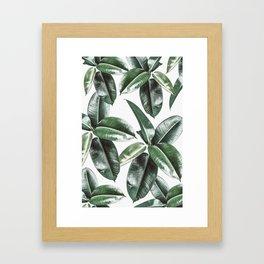 Tropical Leaves Pattern | Dark Green Leaves Photography Framed Art Print