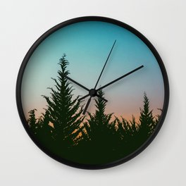 TREES - SUNSET - SUNRISE - SKY - COLOR - FOREST - PHOTOGRAPHY Wall Clock