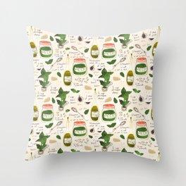 Pesto. Illustrated Recipe. Throw Pillow