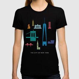 New York Skyline One WTC Poster Black T-shirt