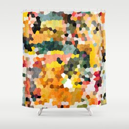Feel Good Colors, A Warm Abstract Mosaic Shower Curtain