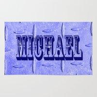 michael scott Area & Throw Rugs featuring Michael by Brian Raggatt