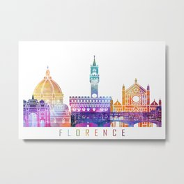 Florence skyline landmarks in watercolor Metal Print