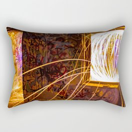 Graff Bomb - Light Painting in Abandoned Ruins Rectangular Pillow