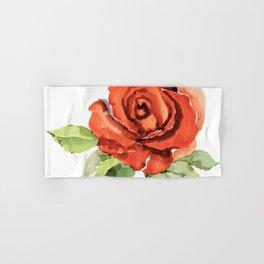 Red Rose In Bloom, Watercolour Sketch Hand & Bath Towel