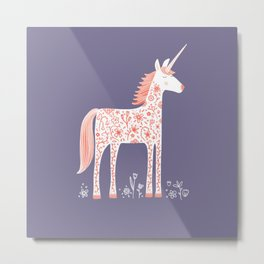 Unicorn with Flowers Metal Print