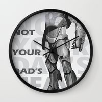 heavy metal Wall Clocks featuring Heavy Metal by Laura Stephens