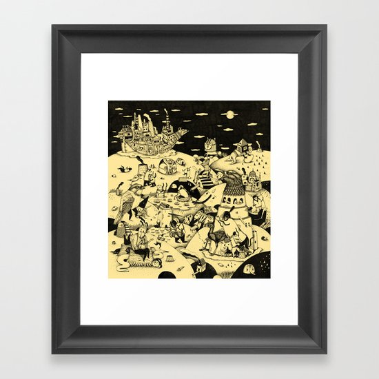 OLD STORIES, BIRDS AND MAGIC SHIP Framed Art Print