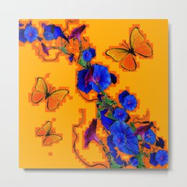 Modern Style Orange Butterflies Blue Morning Glory Pattern Art Metal Print