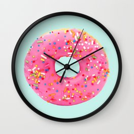 Giant Donut on Mint Wall Clock