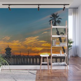 Palm Framed Huntington Beach Pier Wall Mural