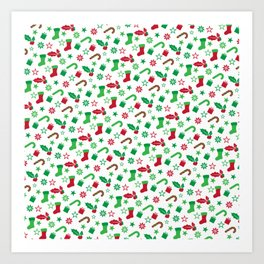 Red And Green Christmas Objects Decor Art Print
