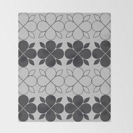 Black and Grey Flower Tile Throw Blanket