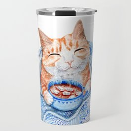 Happy Cat Drinking Hot Chocolate Travel Mug
