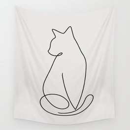 One Line Kitty Wall Tapestry