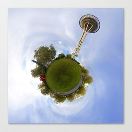Space Needle Tiny Planet Canvas Print