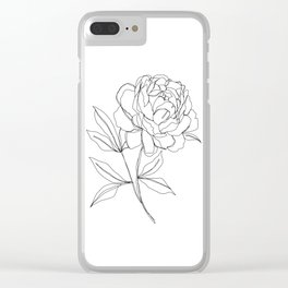 Botanical illustration line drawing - Peony Clear iPhone Case