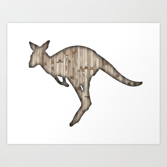 wooden kangaroo Art Print