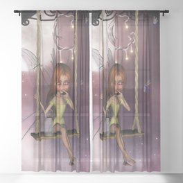 Little fairy on a swing with dragonfly in the night Sheer Curtain