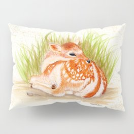 Dear Little Deer - animal watercolor painting Pillow Sham