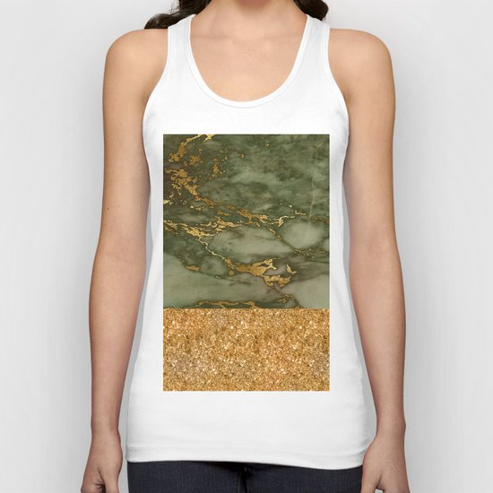 Green Marble with Gold and Glitter Unisex Tank Top
