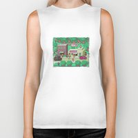 earthbound Biker Tanks featuring Earthbound town by likelikes