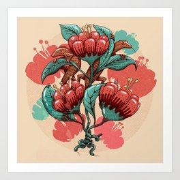 Between leaves and lizards Art Print