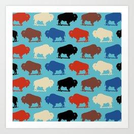 Colorful Buffalo Bison Pattern 279 Art Print