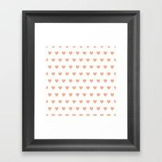 Pink polkadot hearts Framed Art Print
