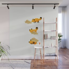Fox and leaf blanket Wall Mural
