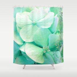 Mint Hydrangea floral art Shower Curtain