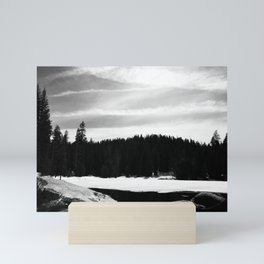 Frozen Lake and Forest in Sequoia and Kings Canyon National Park (Black and White) Mini Art Print