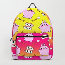 Cute funny Kawaii chibi little pink baby bunnies, happy sweet cheerful sushi with shrimp on top, rice balls and chopsticks colorful bright sunny yellow pattern design. Backpack