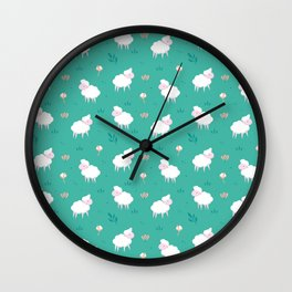 Calm sheep pattern Wall Clock